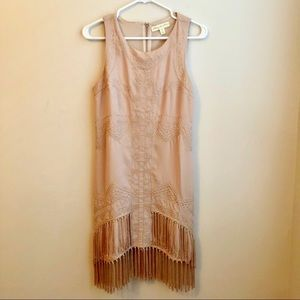 UO Staring at Stars Embroidered Nude Fringe Dress